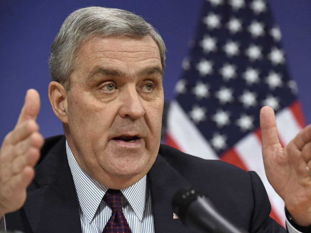 PHOTO: U.S. Ambassador to NATO Douglas Lute gives a press conference on Dec. 1, 2014 at organization headquarters in Brussels.