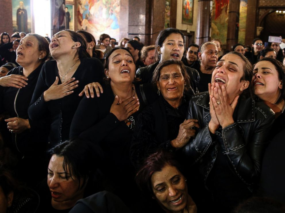 PHOTO: Women cry during the funeral for those killed in a Palm Sunday church attack in Alexandria Egypt, at the Mar Amina church, April 10, 2017.