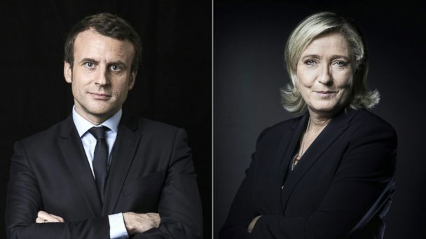 PHOTO: This combination of pictures created on May 3, 2017 shows French presidential election candidates Emmanuel Macron and Marine Le Pen.
