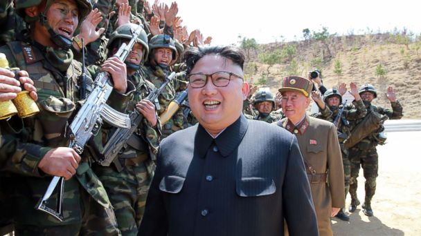 North Korean leader Kim Jong-Un is pictured inspecting the
