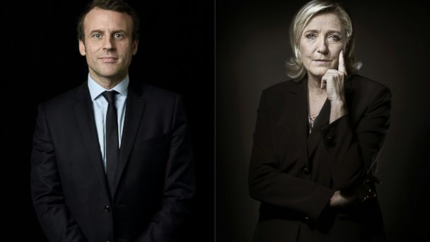 PHOTO: A combination of pictures made on April 23, 2017 shows Emmanuel Macron (L) and Marine Le Pen posing in Paris.
