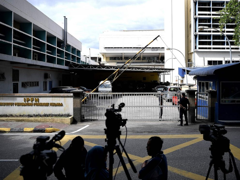 PHOTO: Malaysian Police personnel man the main gate of the Forensic wing at the Hospital Kuala Lumpur, Feb. 16, 2017, where the body of a North Korean man suspected to be Kim Jong-Nam, half-brother of a North Korean leader Kim Jong-Un, is being kept.