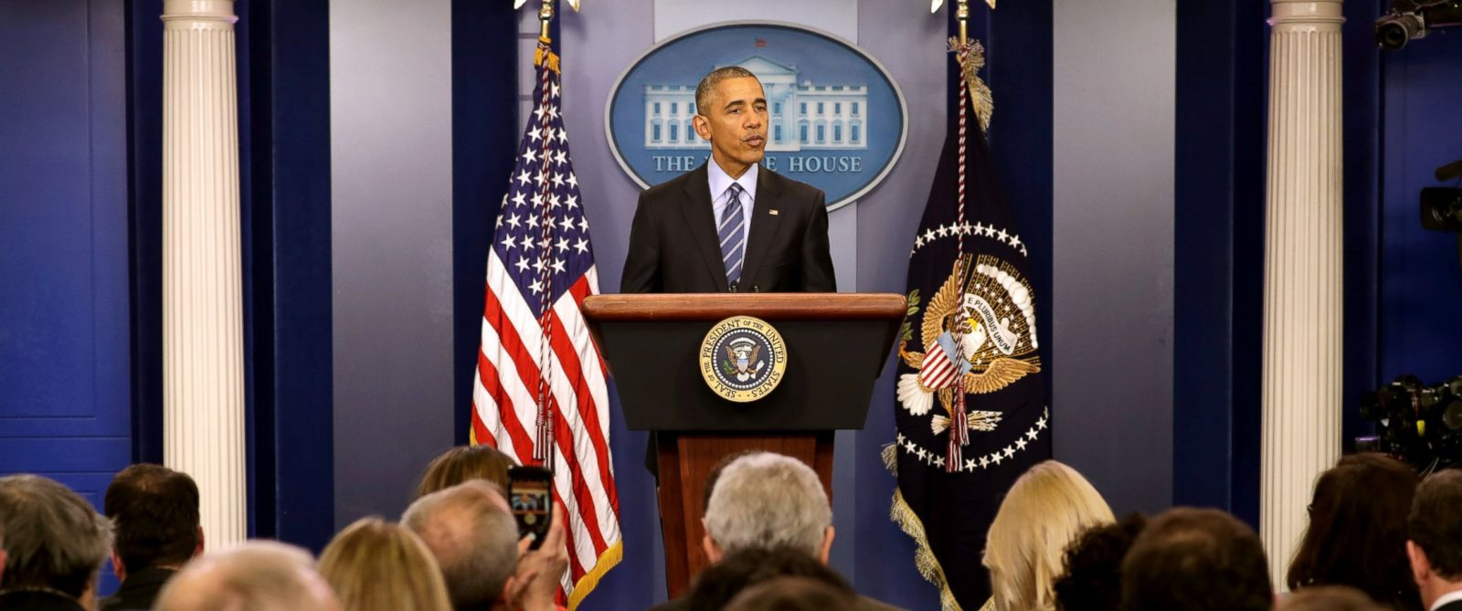 PHOTO: President Barack Obama speaks during a news conference in the Brady Press Briefing Room at the White House, Dec. 16, 2016 in Washington.