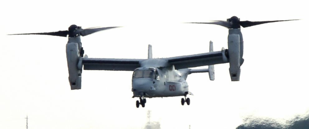PHOTO: A MV-22 Osprey aircraft land at U.S. Marine Corps Futenma Air Station, Aug. 12, 2013, in Ginowan, Okinawa, Japan.