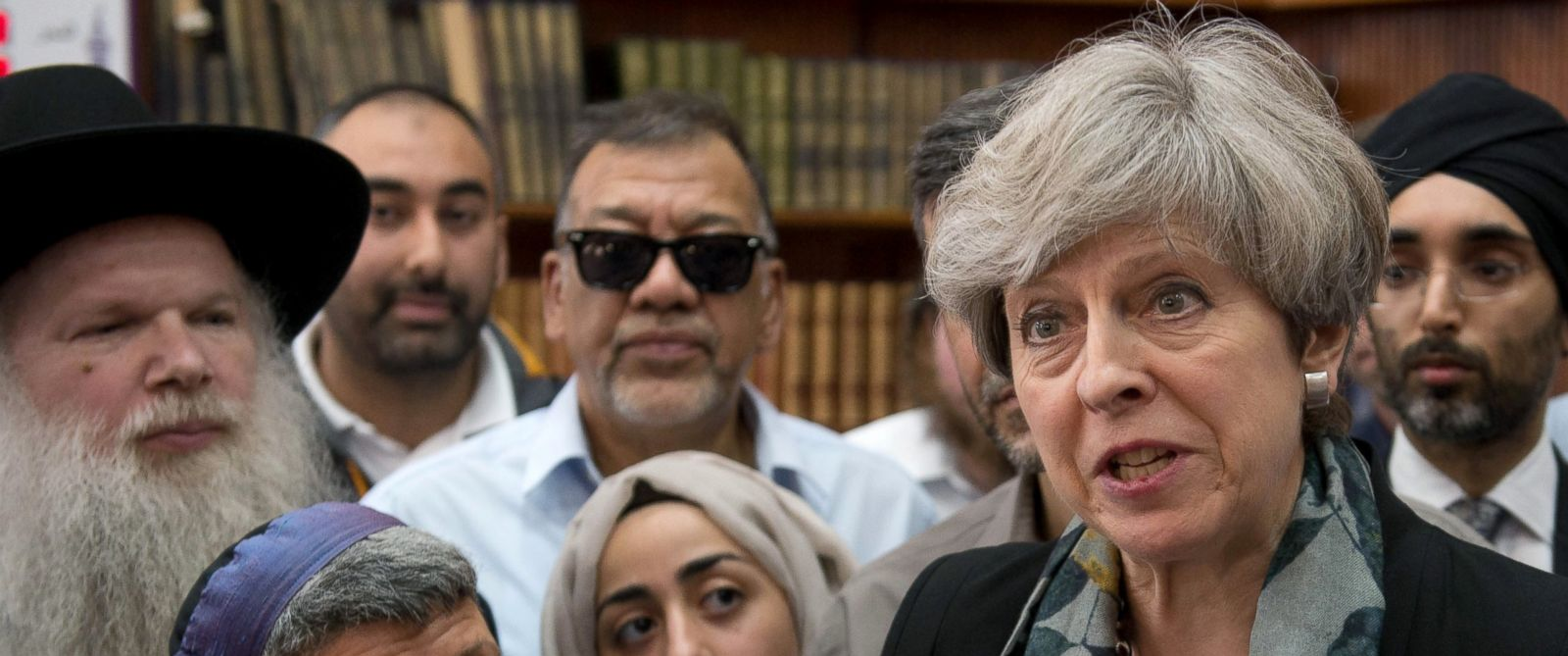PHOTO: British Prime Minister Theresa May talks to faith leaders at Finsbury Park Mosque, June 19, 2017, in London.