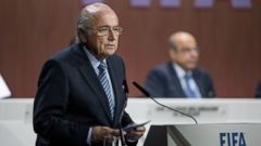 PHOTO: FIFA President Sepp Blatter speaks during the 65th FIFA Congress on May 29, 2015 in Zurich, Switzerland.