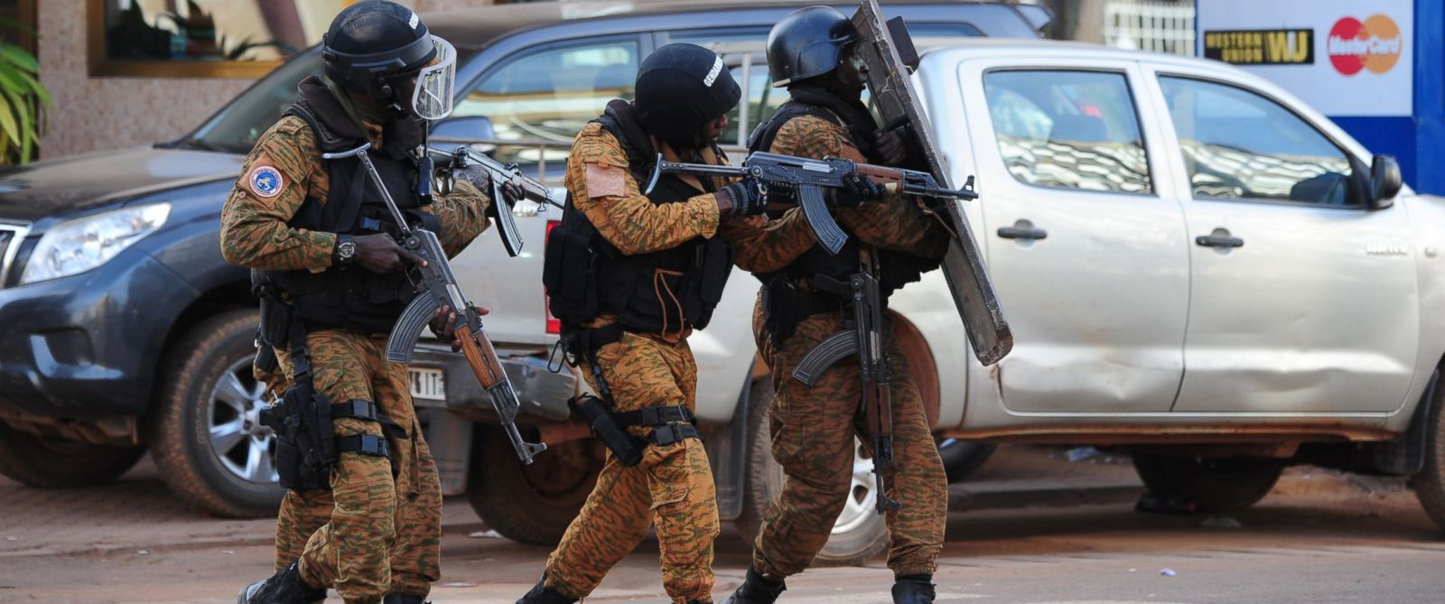 PHOTO: Special police forces are seen during search operations following an attack by Al-Qaeda linked gunmen on January 16, 2016 in Ouagadougou.