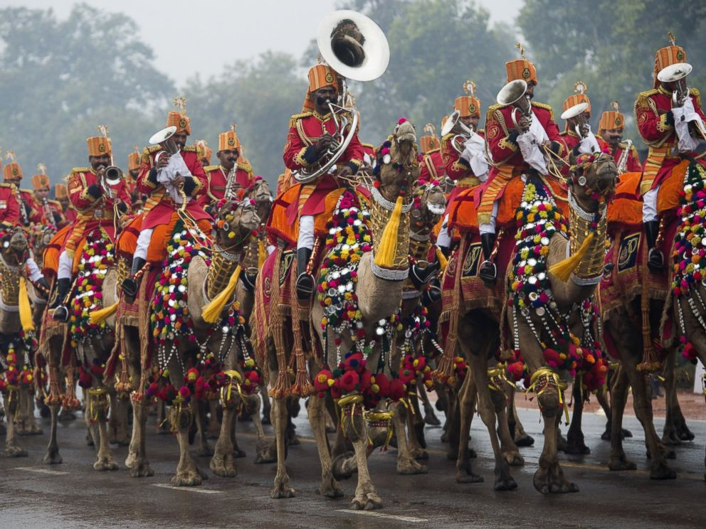 PHOTO: An Indian military band plays while riding camels during the nations Republic Day Parade in New Delhi on January 26, 2015.