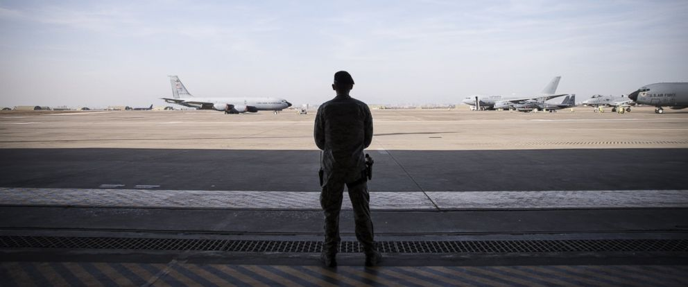 PHOTO:In this file photo, a military personnel is seen at Incirlik Airbase in Adana, Turkey, Dec. 15, 2015.