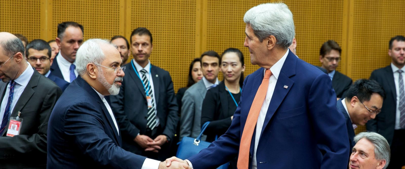PHOTO: Foreign Minister of Iran, Mohammad Javad Zarif shakes hands with U.S. Secretary of State John Kerry, July 14, 2015, in Vienna.