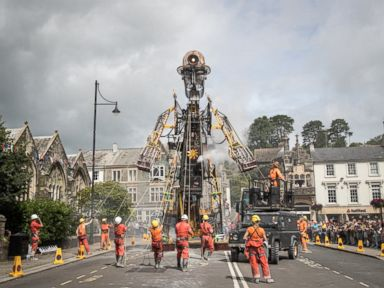 PHOTO: The giant tall Man Engine is unveiled to the public in Tavistock, July 25, 2016, in Devon, England.