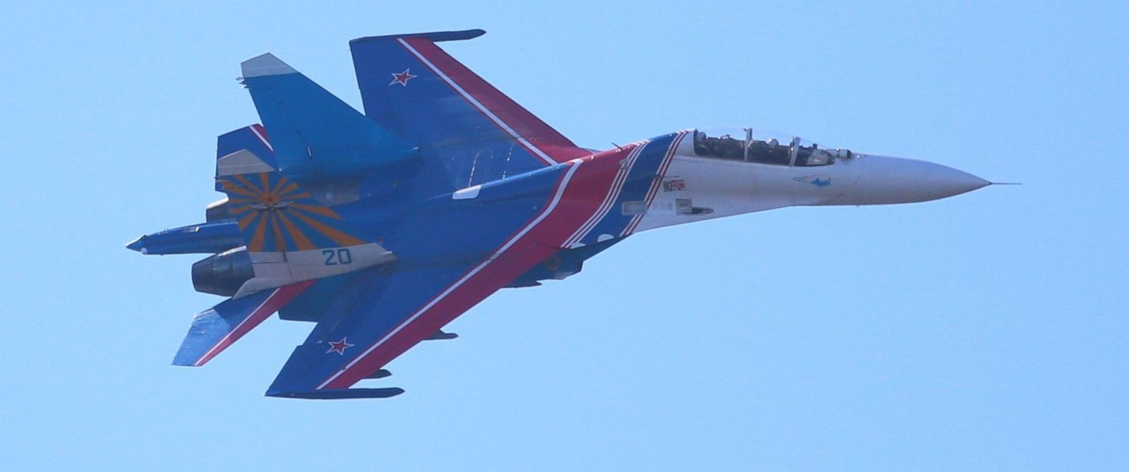 PHOTO: A Russian Sukhoi Su-27 jet is seen as part of a Russian Knights aerobatic demonstration over Saint Petersburg, Russia, April 25, 2015.