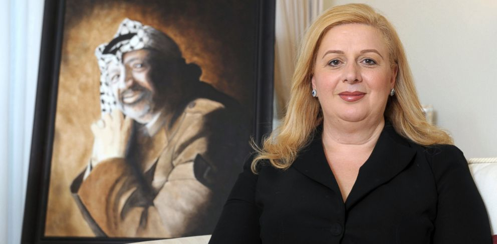 PHOTO: Suha Arafat poses in front of a portrait of her late husband Yasser Arafat at her home in Malta, Nov. 10, 2011.
