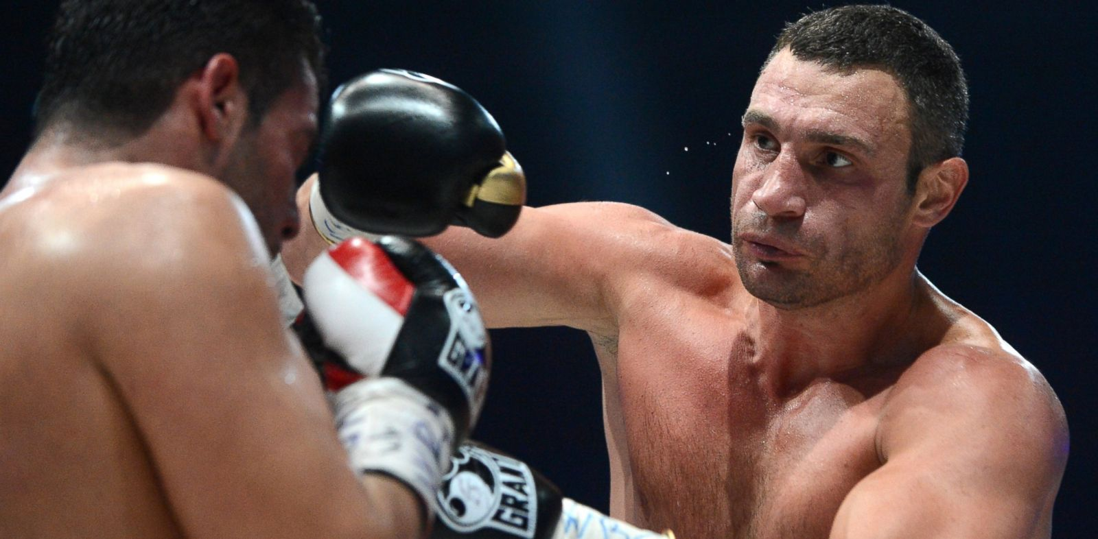 PHOTO: Ukraines two-time World Heavyweight champion Vitali Klitschko, right, fights Germanys Manuel Charr in Moscow, Sept. 9, 2012.