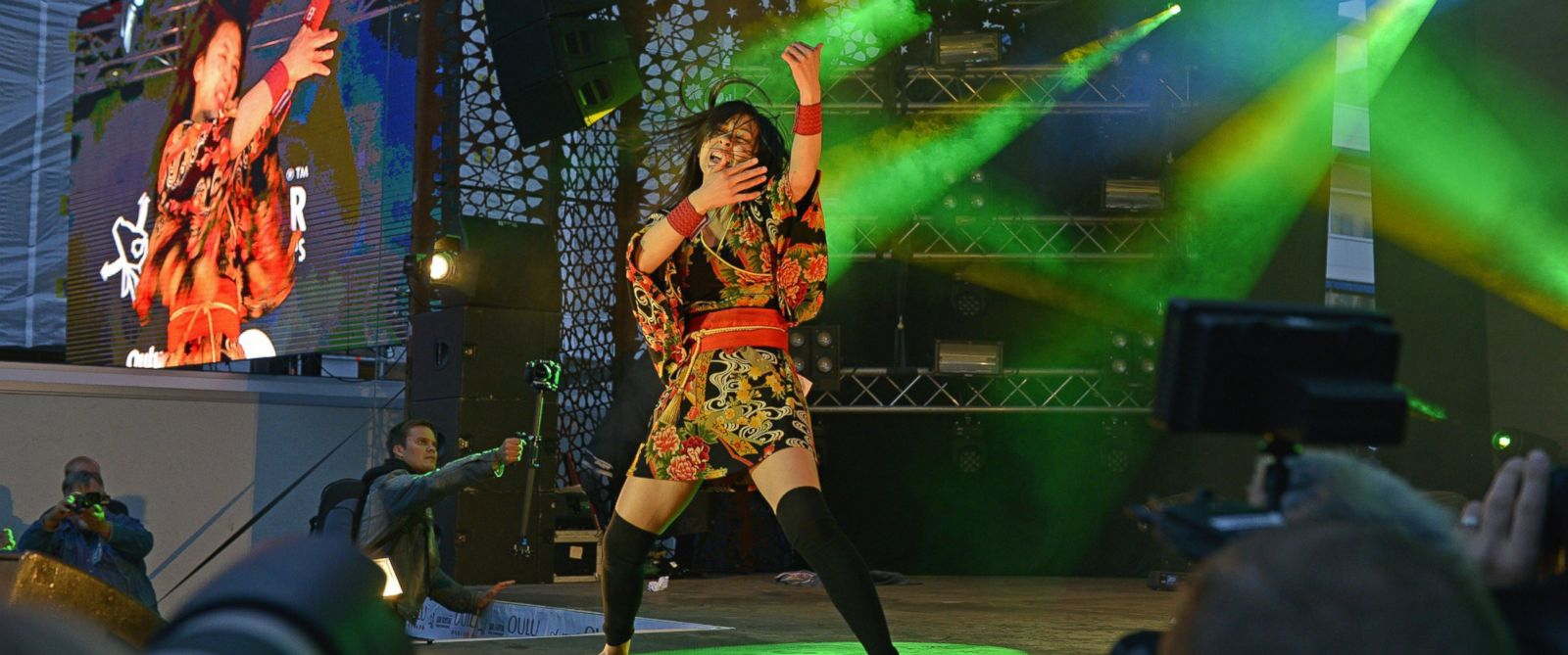 "PHOTO: Winner of the 2014 Air Guitar World Championships, 19-year old Nanami ""Seven Seas"" Nagura of Japan performs in Oulu, Finland on Aug. 29, 2014."