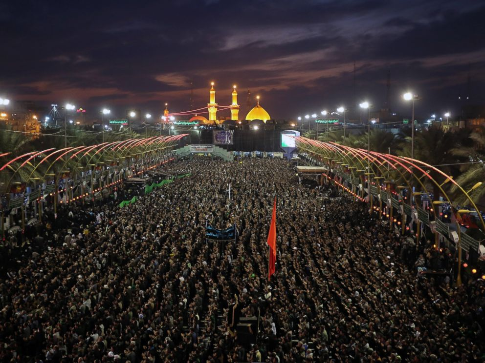 PHOTO: Shiite people gather during the Arbaeen ceremony in the holy city of Karbala, southern Iraq, Dec. 12, 2014.