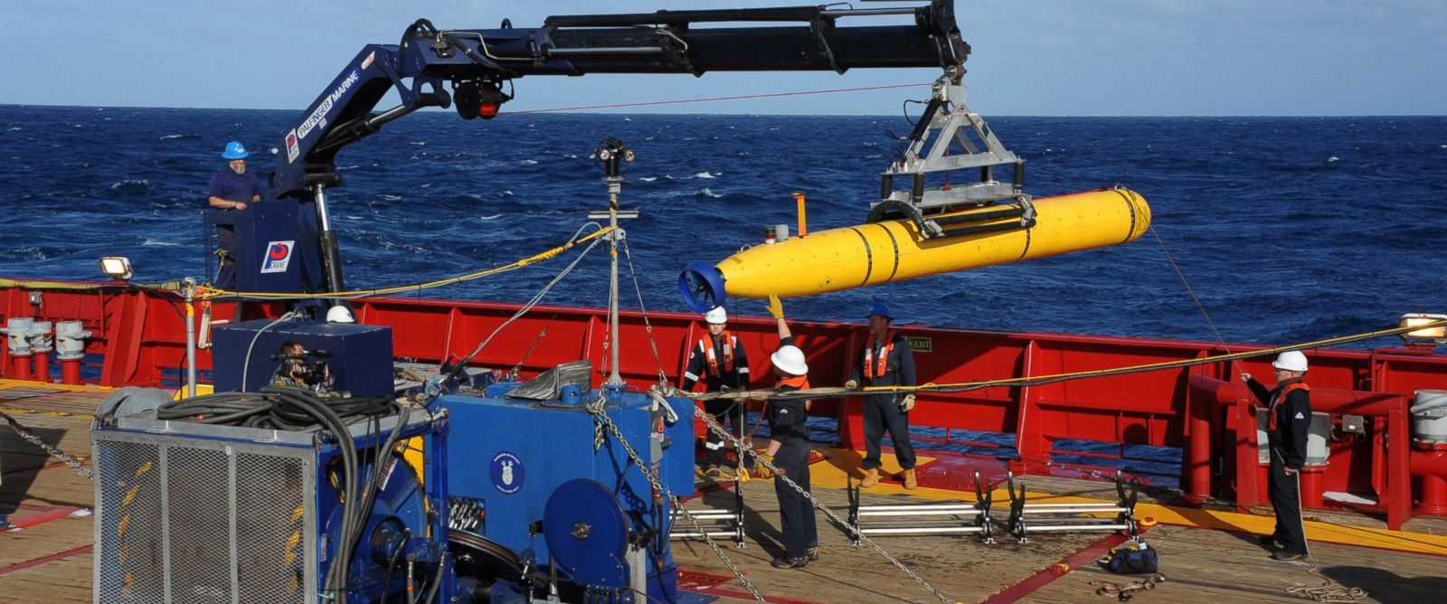 PHOTO: In this handout image provided by the U.S. Navy, The Bluefin 21, Artemis autonomous underwater vehicle (AUV) is hoisted back on board the Australian Defense Vessel Ocean Shield after successful buoyancy testing April 1, 2014 in the Indian Ocean.