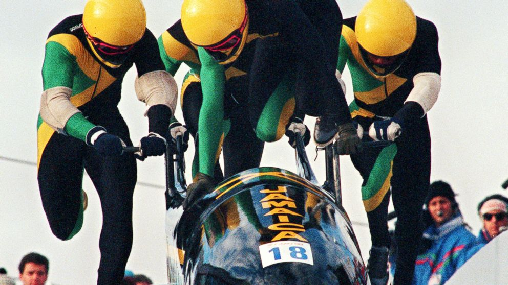 PHOTO: Jamaican four-man bobsleigh pilot Dudley Stokes jumps in as his three teammates push off at the start of the second run of the Olympic four-man bobsleigh event Feb. 27, 1988, in Calgar