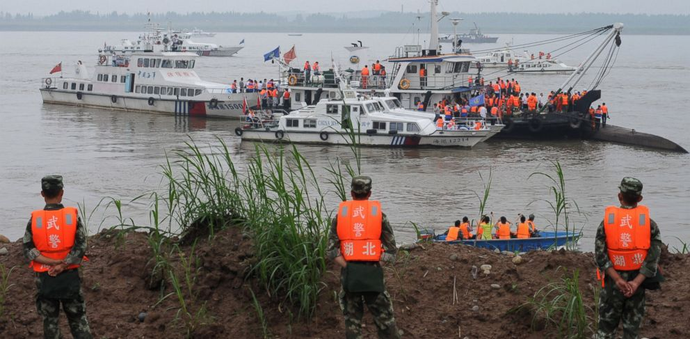 PHOTO: Rescue teams search for survivors near the Dongfangzhixing or Eastern Star vessel, which sank in the Yangtze River in Jianli, central Chinas Hubei province, on June 2, 2015.