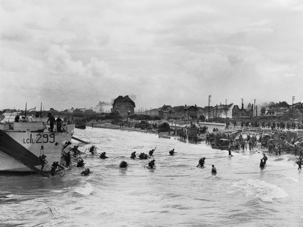 PHOTO: The D-Day invasion of German-occupied France on the beach of Normandy, June 6, 1944, during World War II.