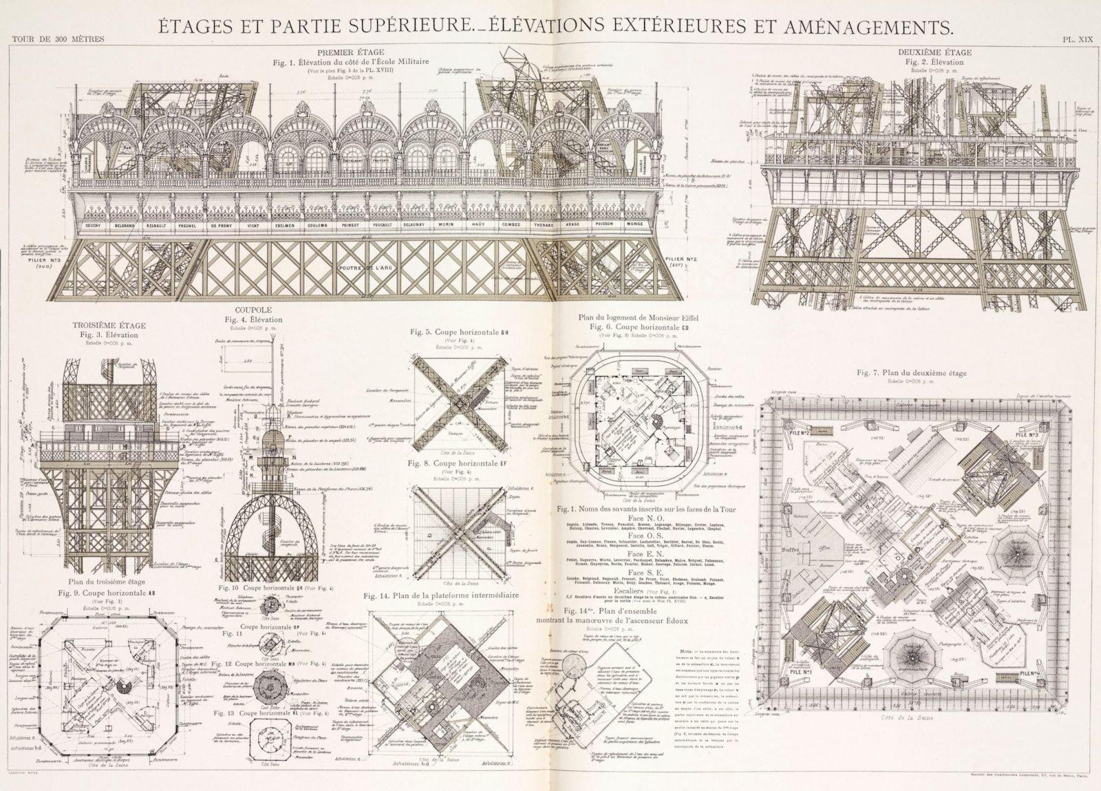Eiffel Tower Technical Drawings Eiffel Tower's Construction