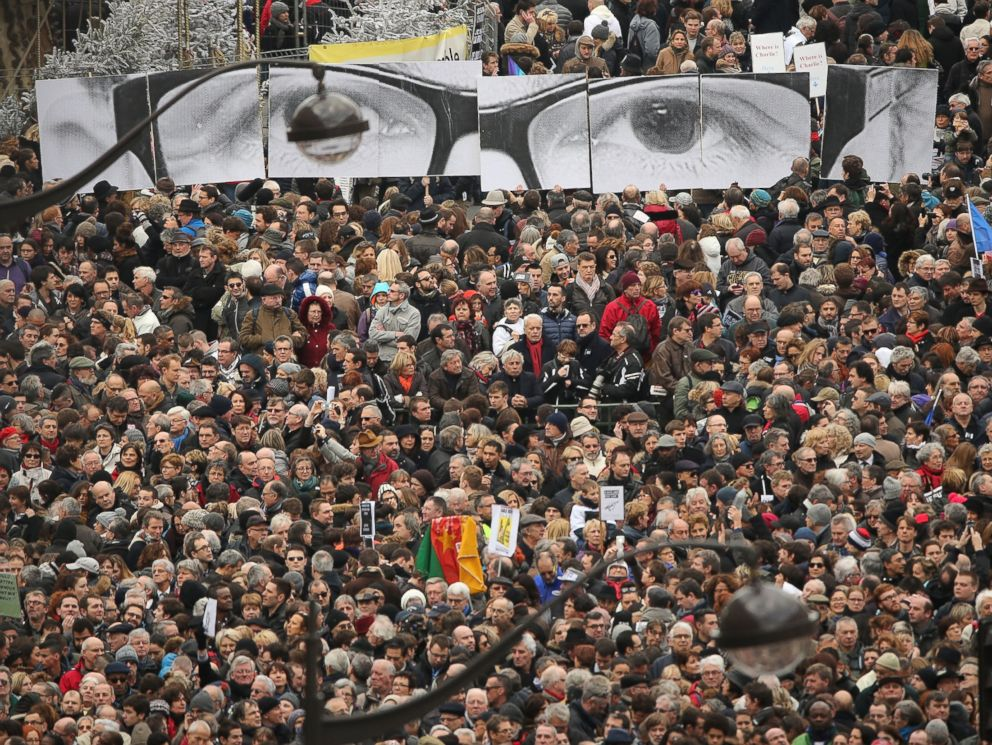 PHOTO: Demonstrators gather in Place de la Republique prior to a mass unity rally to be held in Paris following the recent terrorist attacks on Jan. 11, 2015 in Paris, France.