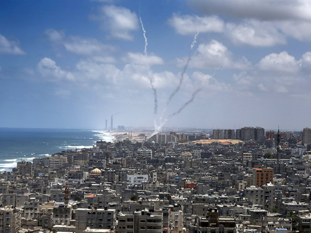 PHOTO: Smoke from rockets fired from Gaza City are seen after being launched toward Israel, July 15, 2014.