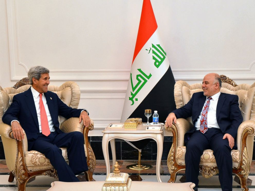 PHOTO: Secretary of State John Kerry meets with Haider al-Abadi, Prime Minister of Iraq, in Baghdad, Sept. 10, 2014.