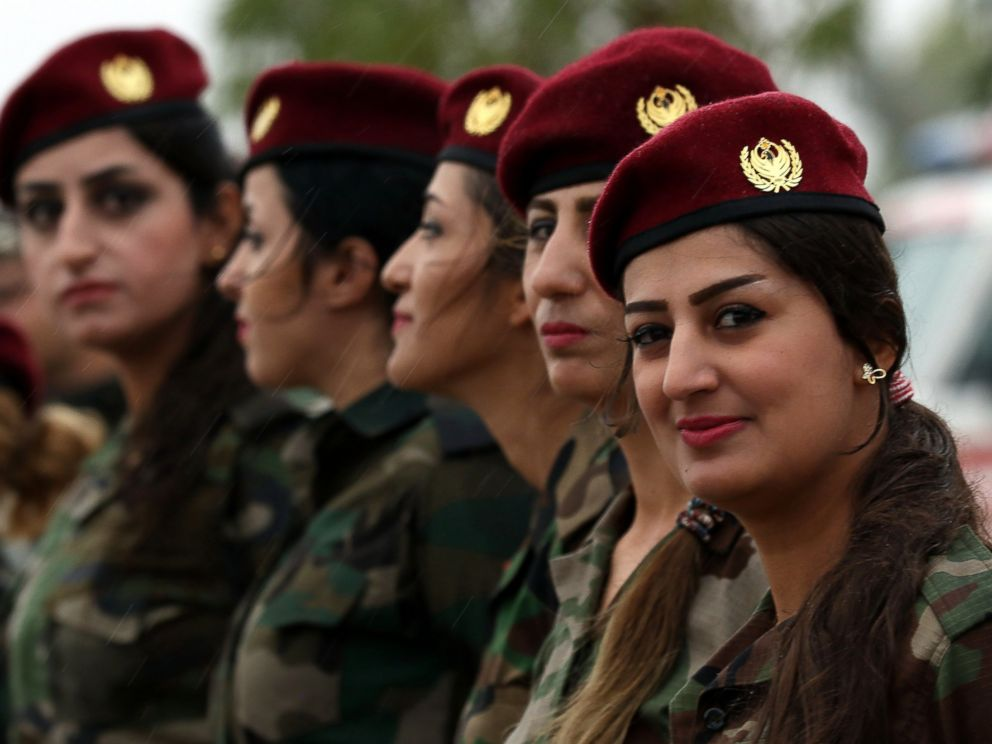 PHOTO:Kurdish Peshmerga female fighters march during a training camp conducted by trainers from the German military forces in Arbil, the capital of the Kurdish autonomous region in northern Iraq, Oct. 27, 2015.