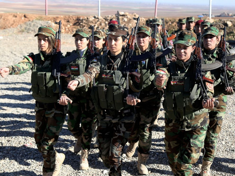 PHOTO:Female Syrian Peshmerga fighters are being trained to fight against Daesh and Assad forces at a camp located in Old Mosul region of the city of Nineveh, Iraq, Dec. 9, 2015.