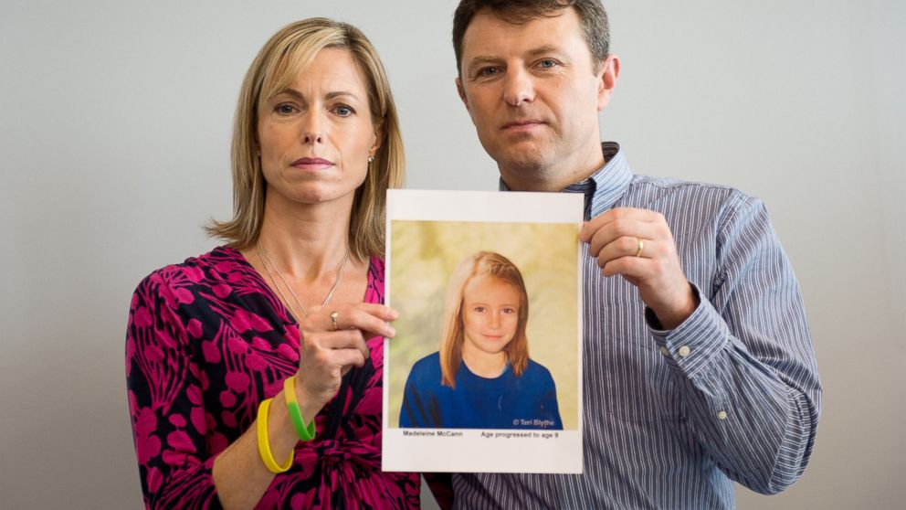 PHOTO: Parents of missing girl Madeleine McCann, Kate and Gerry McCann, pose with an artists impression of how their daughter might look now at the age of nine ahead of a press conference in London, May 2, 2012.