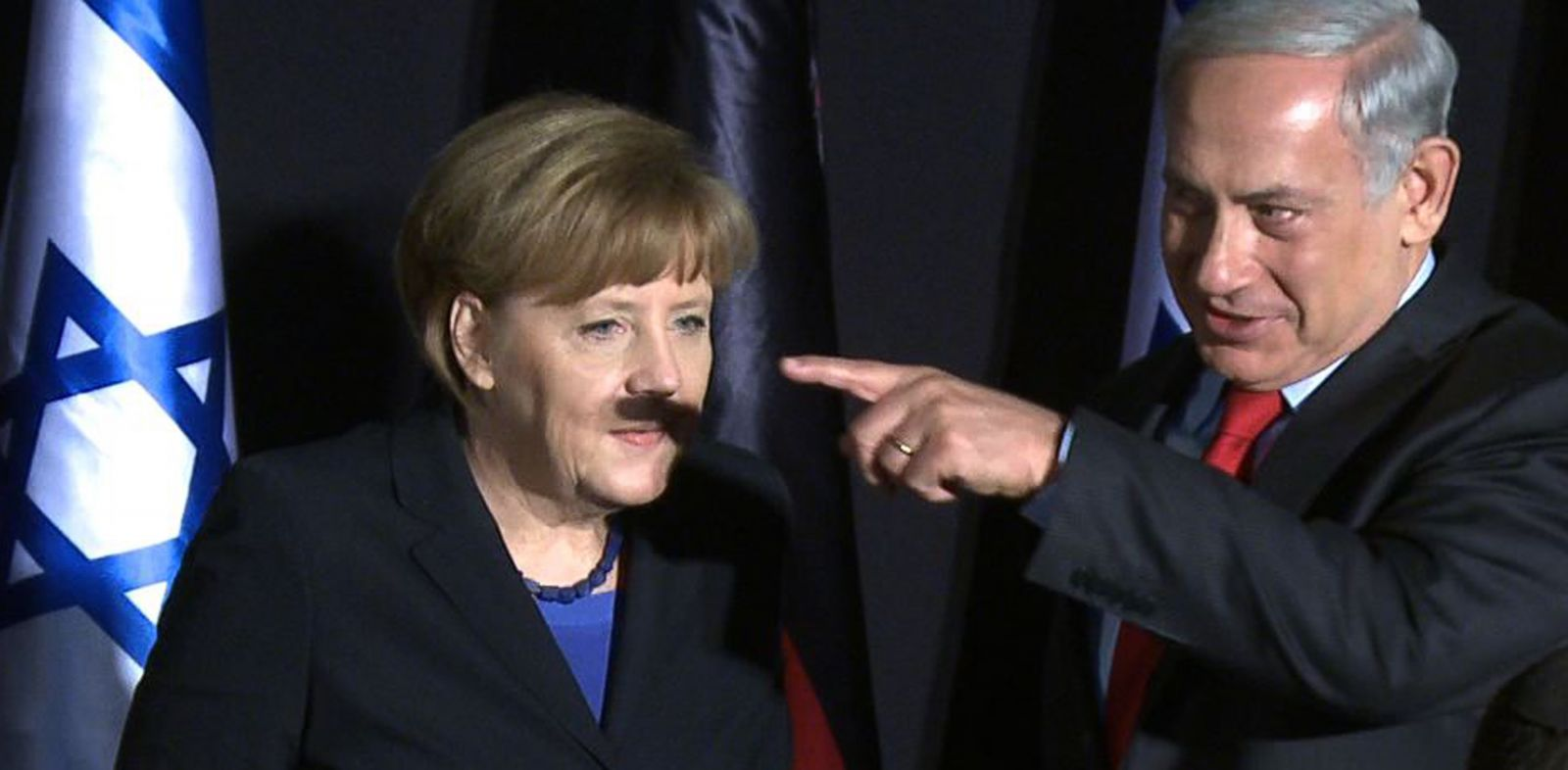 PHOTO: In this video grab, German Chancellor Angela Merkel and Israeli Prime Minister Benjamin Netanyahu gesture during a joint press conference at the King David hotel in Jerusalem, Feb. 25, 2014.