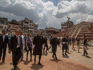 PHOTO: Bhutanese PM Tshering Tobgay visits the collapsed temples at Basantapur Durbar Square