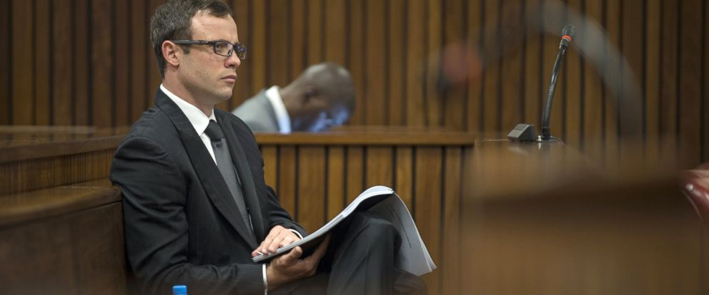 PHOTO: Oscar Pistorius during the presentation of the final arguments of his murder trial at the high court in Pretoria, Aug. 7, 2014.