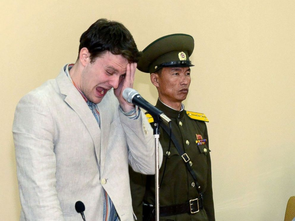 PHOTO: US student Otto Frederick Warmbier is shown in court, March 16, 2016, at the Supreme Court in Pyongyang, North Korea.