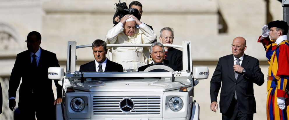 PHOTO: Pope Francis arrives for his weekly general audience in St Peters square at the Vatican in this Sept.3, 2014 file photo.
