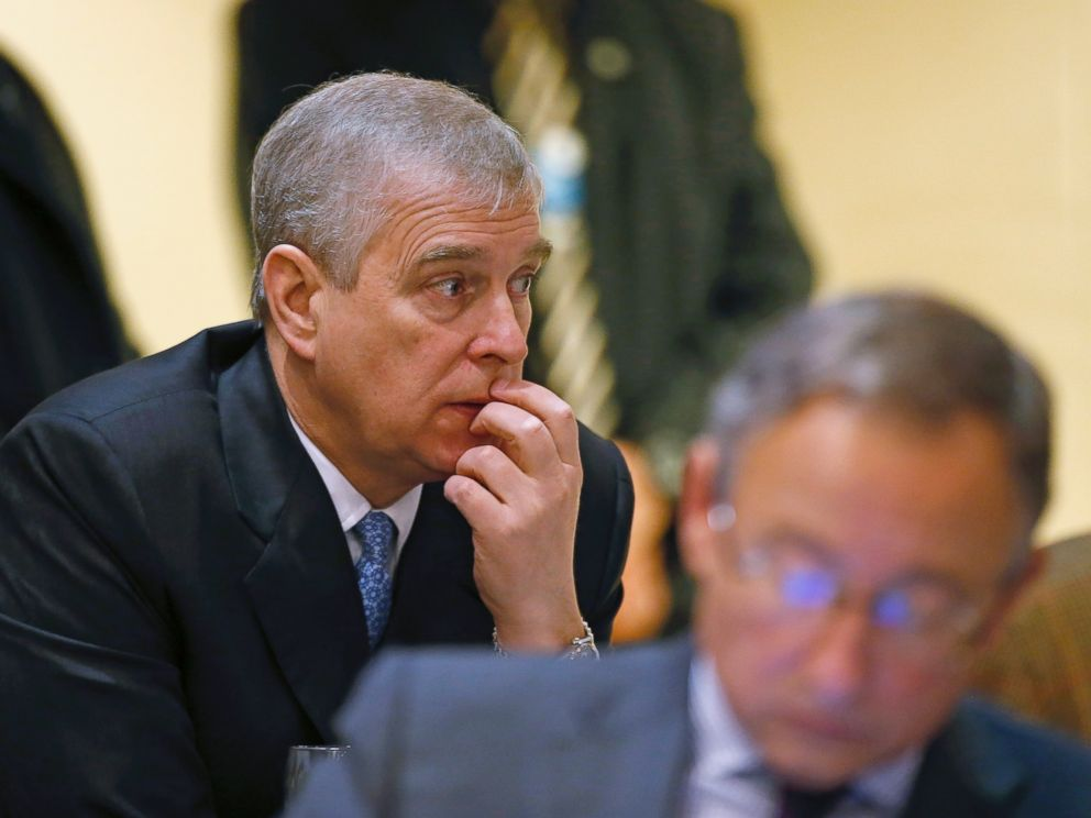 PHOTO: Britains Prince Andrew, pauses during a break in sessions on day two of the World Economic Forum (WEF) in Davos, Switzerland, Jan. 22, 2015.