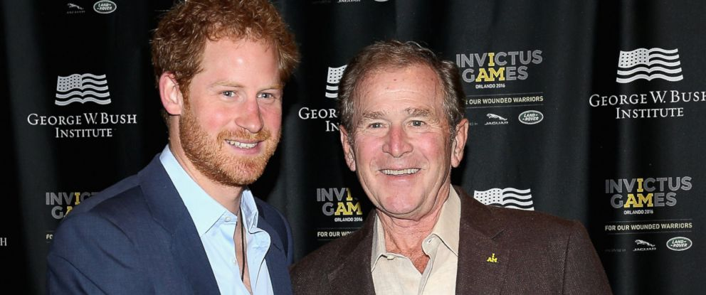 PHOTO: Prince Harry meets Former President George W. Bush at a Symposium of Invisible Wounds at the Shades of Green resort at Invictus Games Orlando 2016 at ESPN Wide World of Sports, May 8, 2016 in Orlando, Fla.