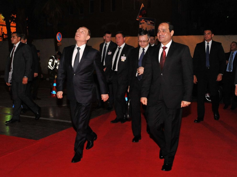 PHOTO: Russian President Vladimir Putin and Egyptian President Abdel Fattah el-Sisi visit Cairo Tower on Feb. 9, 2015, in Cairo.
