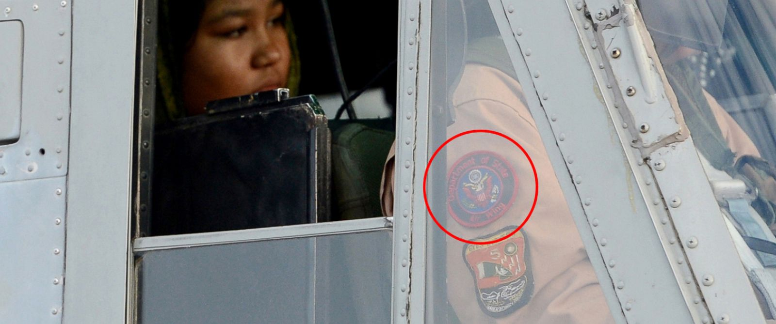 PHOTO: This Sept. 8, 2012 file photo shows a helicopter pilot with a patch on his uniform that appears to be that of the U.S. State Department's Air Wing.