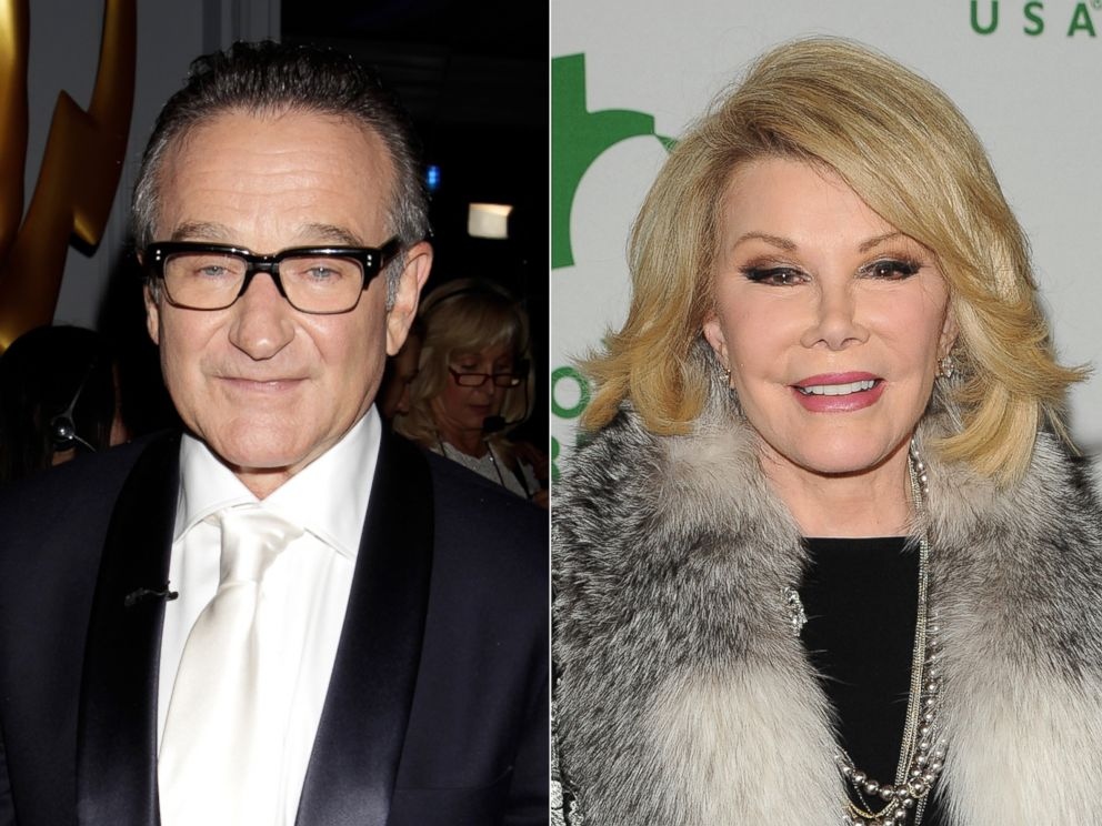 PHOTO: Robin Williams at the 65th Primetime Emmy Awards in Los Angeles, Calif., Sept. 22, 2013. | Joan Rivers at Global Green USAs 11th Annual Pre-Oscar Party in Hollywood, Calif., Feb. 26, 2014.