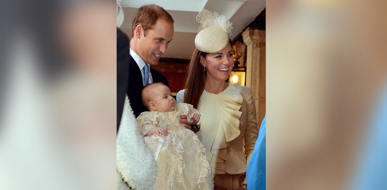 PHOTO: Britains Prince William, Duke of Cambridge and his wife Catherine, Duchess of Cambridge, arrive with their son Prince George of Cambridge at Chapel Royal in St Jamess Palace in central London, Oct. 23, 2013.