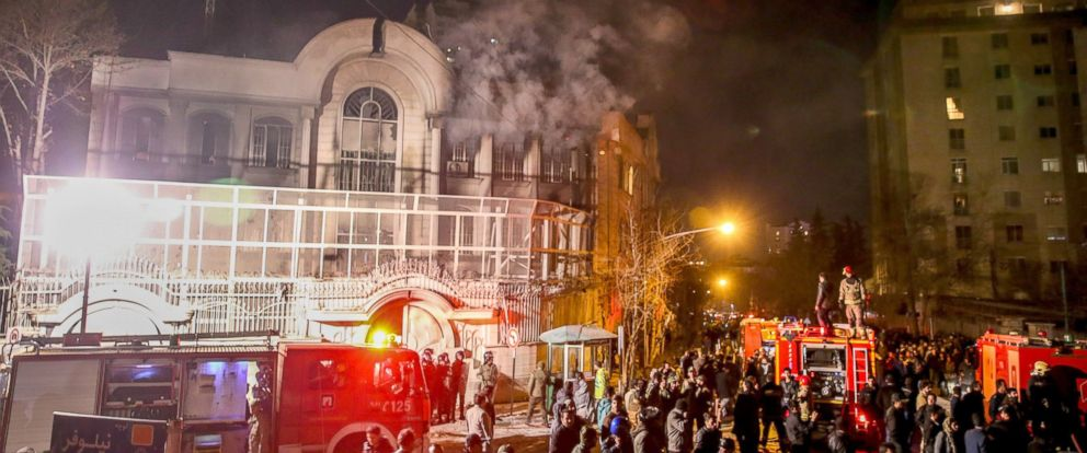 PHOTO: Iranian protesters set fire to the Saudi Embassy in Tehran during a demonstration against the execution of prominent Shiite Muslim cleric Nimr al-Nimr by Saudi authorities, Jan. 2, 2016.