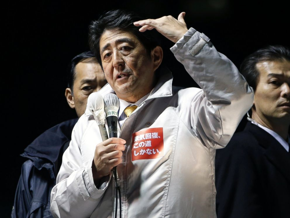 PHOTO: Shinzo Abe, Japans prime minister and president of the Liberal Democratic Party (LDP), gestures as he speaks during an election campaign rally in Saitama City, Japan, Dec. 12, 2014.