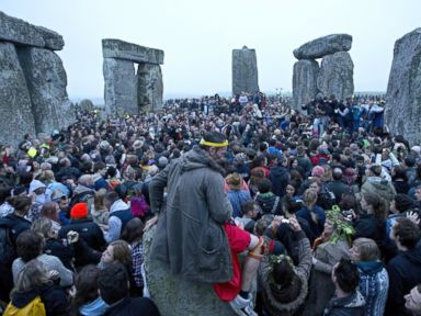 PHOTO: Revelllers celebrate the pagan festival of the summer solstice
