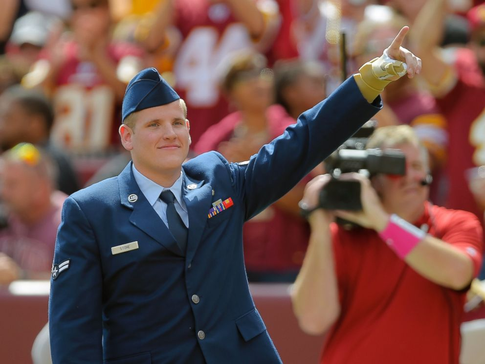 PHOTO: Airman Spencer Stone was introduced during the Washington Redskins game at FedEx Field in Landover, Md, Sept. 20, 2015.