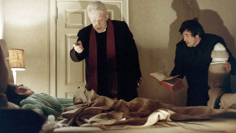 PHOTO: Linda Blair as Regan MacNeil, Max von Sydow as Father Lankester Merrin, and Jason Miller as Father Damien Karras in The Exorcist, directed by William Friedkin, 1973.