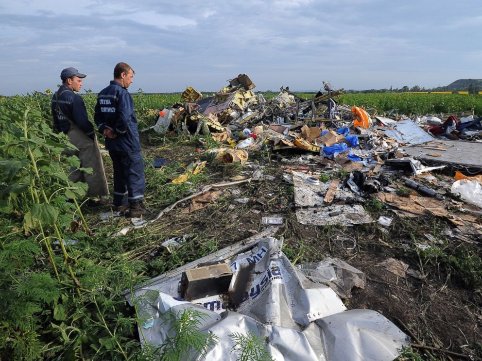 PHOTO: Employees of the Ukrainian State Emergency Service look at the wreckage of Malaysia Airlines flight MH17 two days after it crashed in a sunflower field near the village of Rassipnoe on July 19, 2014.