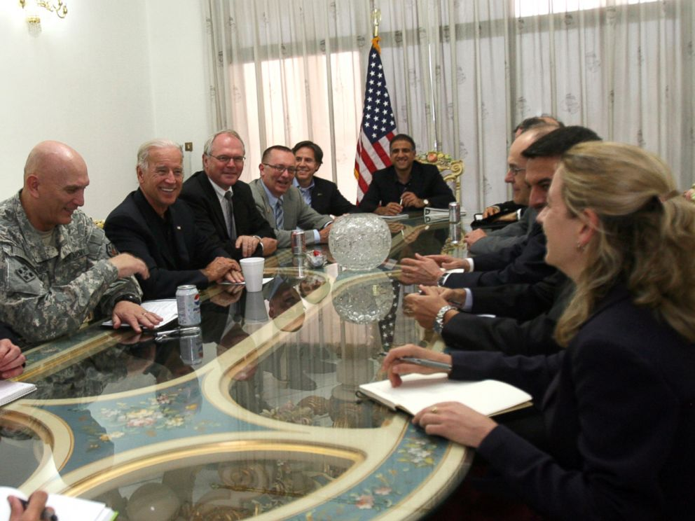 PHOTO: Vice President Joe Biden sits along side Gen. Ray Odierno and U.S. Ambassador to Iraq Christopher Hill during a meeting at the US Embassy in Baghdad, July 3, 2010.