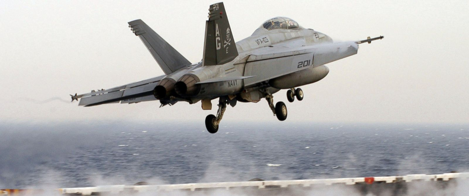 PHOTO: An F/A-18F Super Hornet launches from the flight deck of Nimitz-class aircraft carrier USS Dwight D. Eisenhower in the Persian Gulf in this March 27, 2007 file photo.